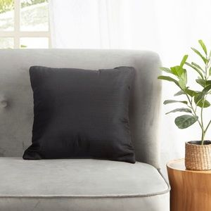 Set of Solid Black Decorative Throw Pillows 16x16